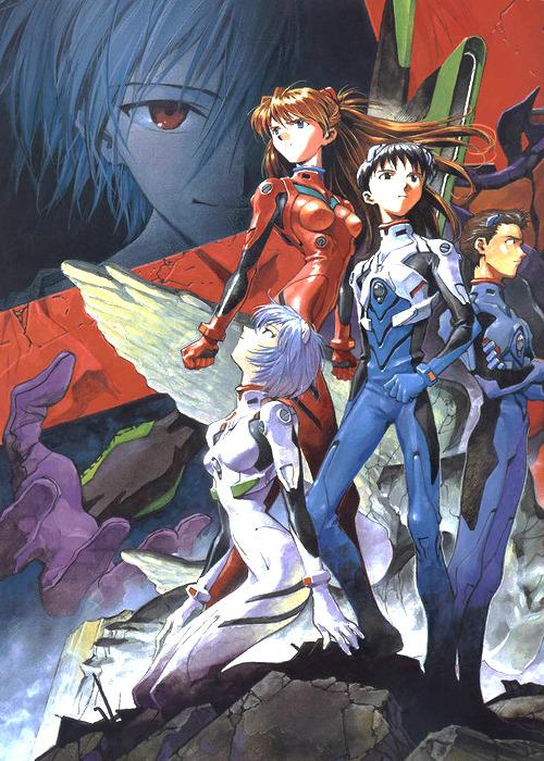 Promotional Image for  Neon Genesis Evangelion  (1995) — image by Yoshiyuki Sadamoto, owned by Studio Gainax.