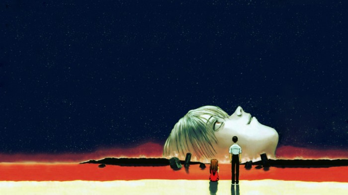 The cover for DVDs of  The End of Evangelion  (1997). Take this opportunity to take a deep breath before continuing.