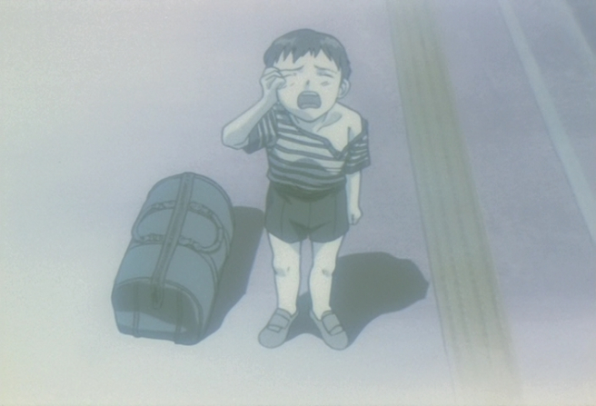 The image of the main character, Shinji, being abandoned as a child — a repeated still from throughout the series.