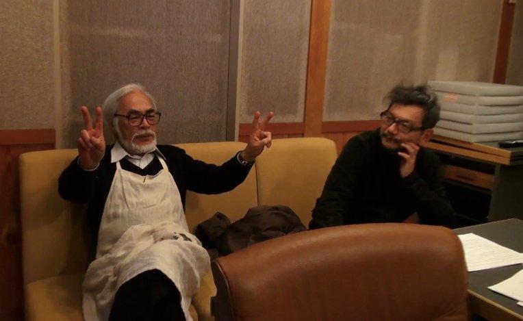 Hideaki Anno (Right) with his mentor, Hayao Miyazaki (Left)