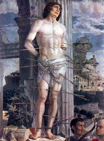 Don't do this without good reason. Painting is  The Martyrdom of St. Sebastian  by Andrea Mategna (1480)