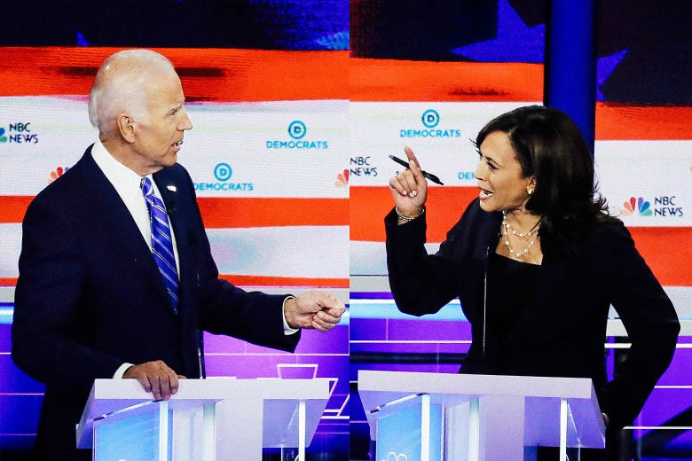 Edited photo from Slate.com (Drew Angerer/Getty Images) depicts Joe Biden and Kamala Harris — the angle is not terribly good, but this seems to me to be raw emotion.