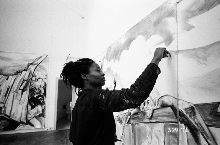 Kara Walker in the studio, working on pieces for the exhibition in question. Photo by Ari Marcopoulos.