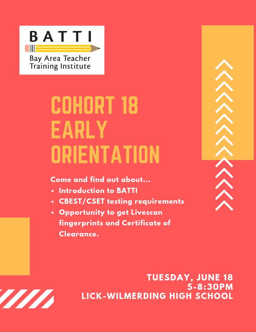 To RSVP for the Early Orientation, please email Raleigh raleigh@ba-tti.org -