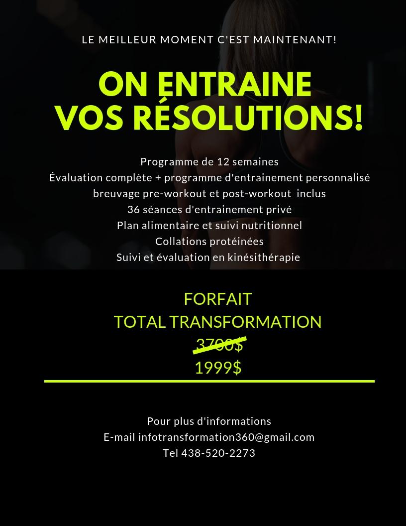 Courez la chance de gagner le forfait TOTAL TRANSFORMATION  - Espace Nutri-Santé et Mode de Vie 360 s'associent pour vous faire gagner un prix d'une valeur de 4000$