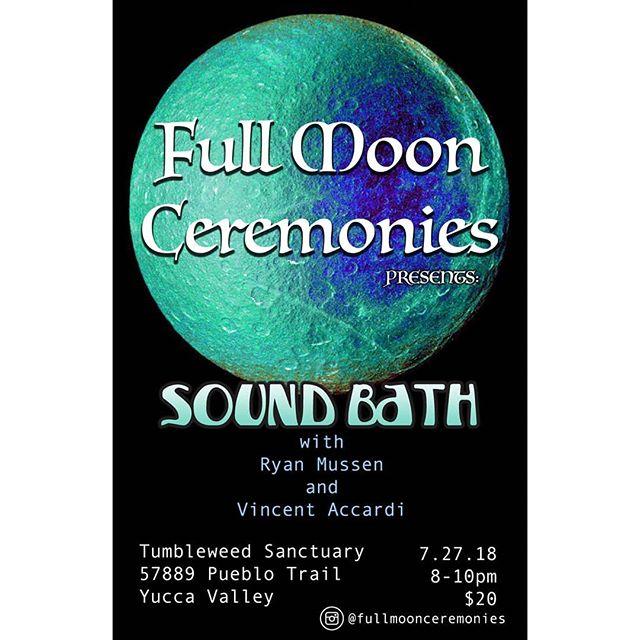 Full Moon Sound Bath July 27th 8pm @tumbleweedsanctuary $20 blankets will be provided but please bring anything you need to be comfortable. If you have any questions please send a message. Arrive early to secure a spot. Thank you!