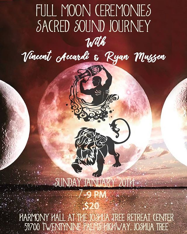 Greetings Dear Friends, We are inviting you to join us for a Sacred Sound Journey under the Leo Full Moon Eclipse from 7-9pm Jan 20th.  This is also an evening of celebration for us, as we are happy to announce that our gatherings will now be held atThe Joshua Tree Retreat Center -The Institute of Mentalphysics! In the Harmony Hall!  @jtretreatcenter  You can refer to the retreat center website for directions to the hall:  https://jtrcc.org/directions-to-the-buildings-and-meeting-spaces/  Any other questions please message us.  Happy New Year!