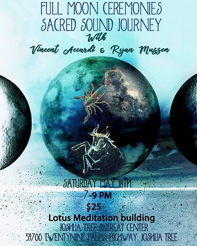 Full Moon Ceremony and Sound Journey w/ @mojavemassage and Vincent Accardi  Saturday May 18th 7-9pm @jtretreatcenter in the lotus meditation hall. Please check the website, contact the bookstore or message us for anymore information.  2 blankets will be provided. Please bring whatever else you might need to be comfortable.