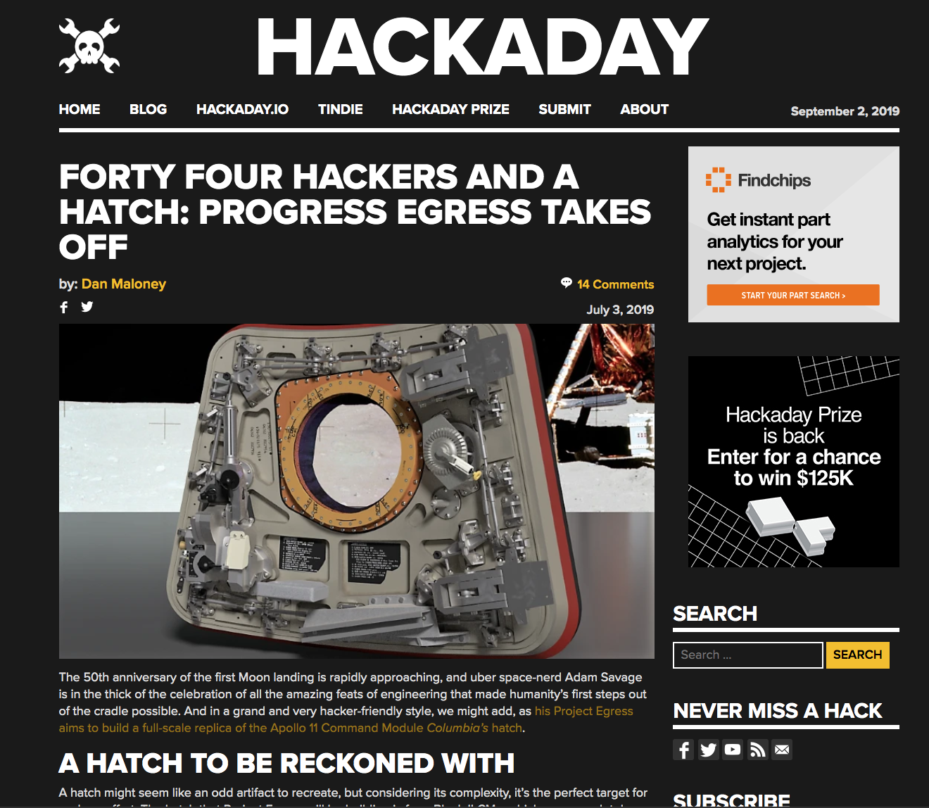 Project Egress featured on Hackaday!
