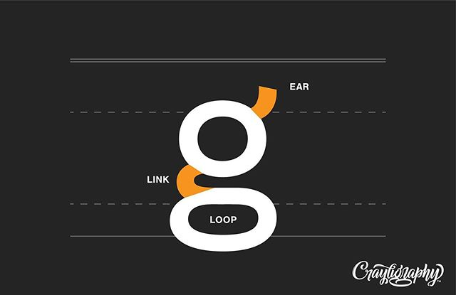 @veronicaletters here with #typetuesday! This one goes out to all of my g's. 😎😎 I love a good double-story 'g.' . Ear A small stroke extending from the upper-right side of the top of a lowercase g; also appears in the angled or curved lowercase r. . Link The stroke that connects the top and bottom of lowercase double-story g's. . Loop The enclosed or partially enclosed space on the bottom of a double-story g. #lettering #typography #type #anatomyoftypography #crayligraphy