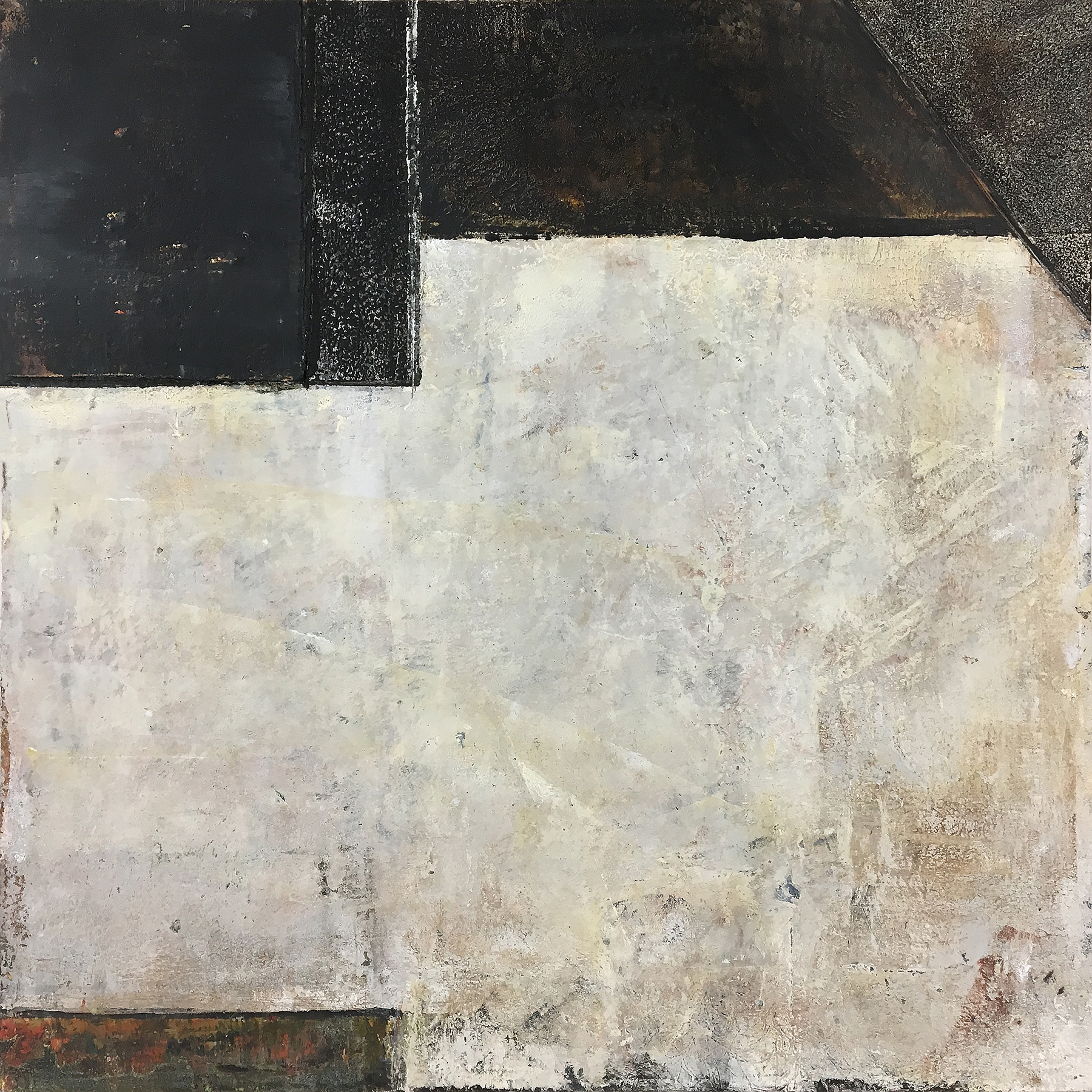 adobe y negro (v) . 16 x 16 inches, oil/cold wax/wood ash on panel, 2018.