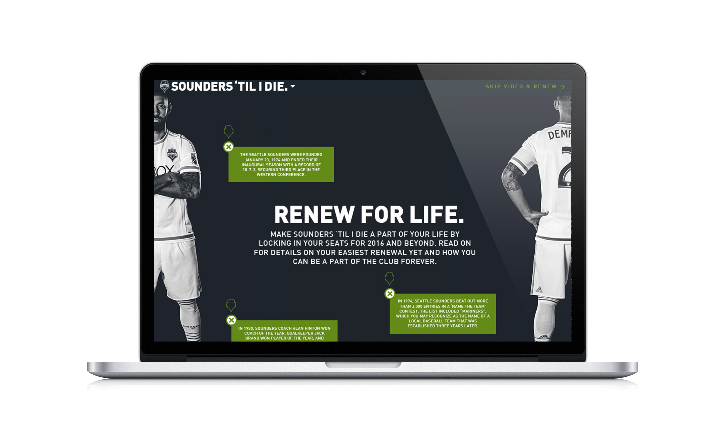"2015 Renewal Website: ""SOUNDERS 'TIL I DIE""."