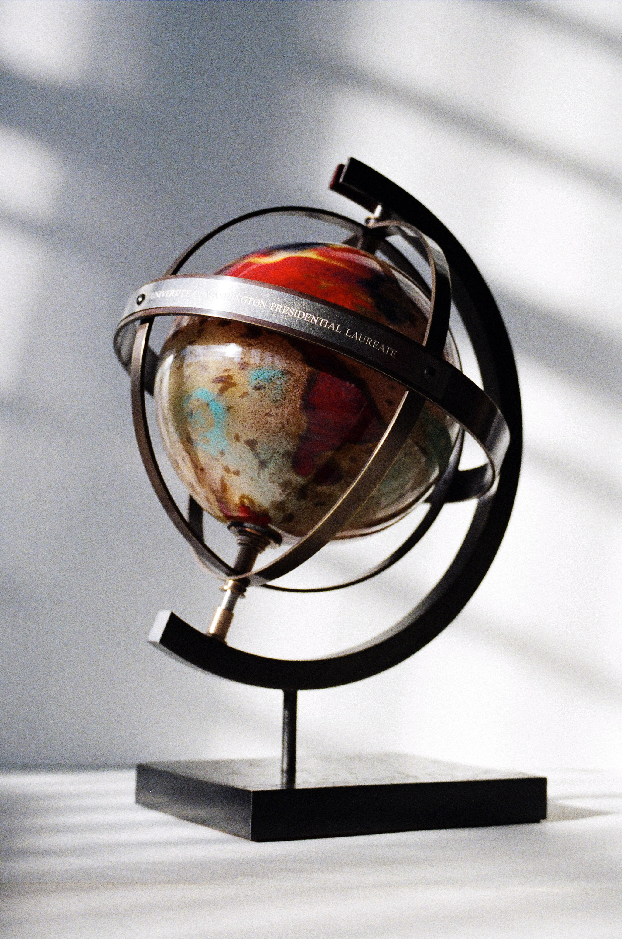 Presidential Laureate gifts for donors to the University of Washington. Bronze, steel and blown glass. Fabricated on an annual basis from 2001 to present.