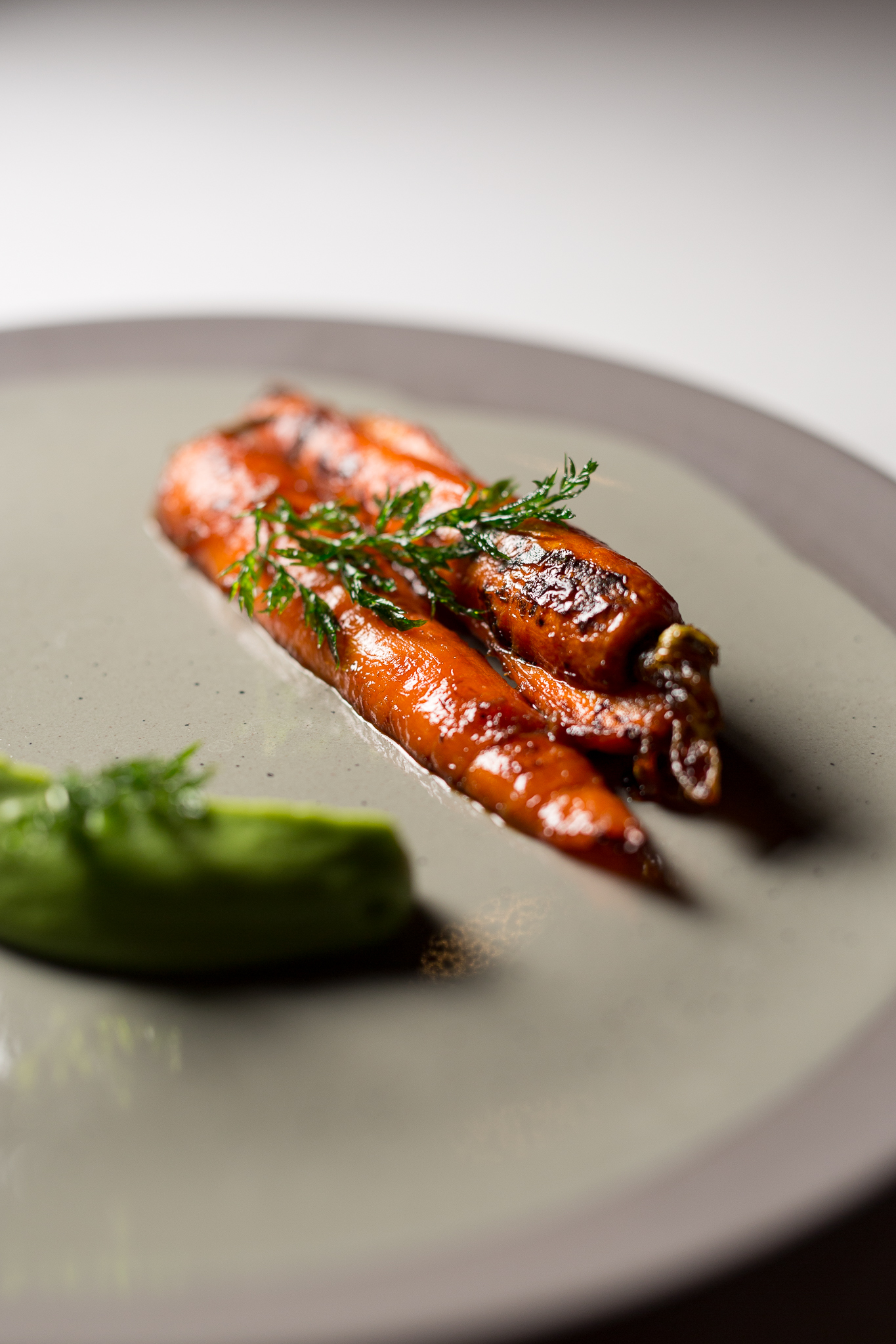 """""""Peas and Carrots""""  Carrots Agrodolce, Minted Pea Pureé, Crispy Parsley"""