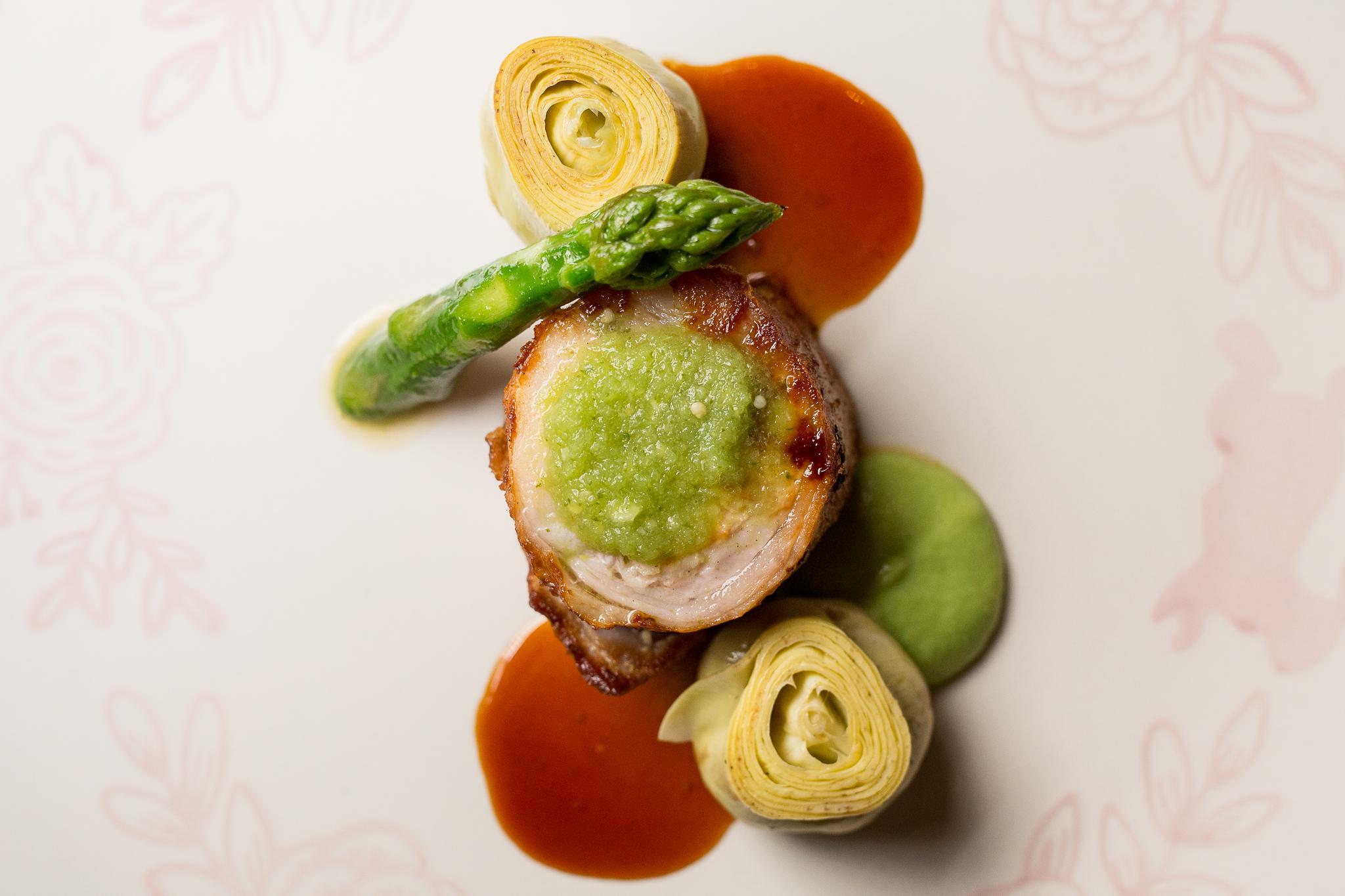 Lapin a la Moutarde, Salsa Verde, Glazed Artichoke, Asparagus Purée