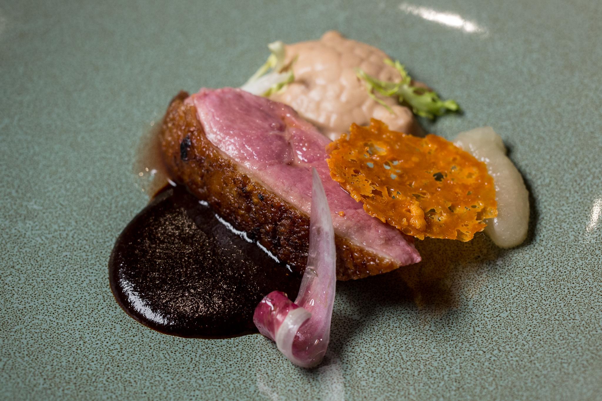 Cider-Glazed Duck, Mole Rojo, Julian Apple, Cheddar Tuile, Foie Gras