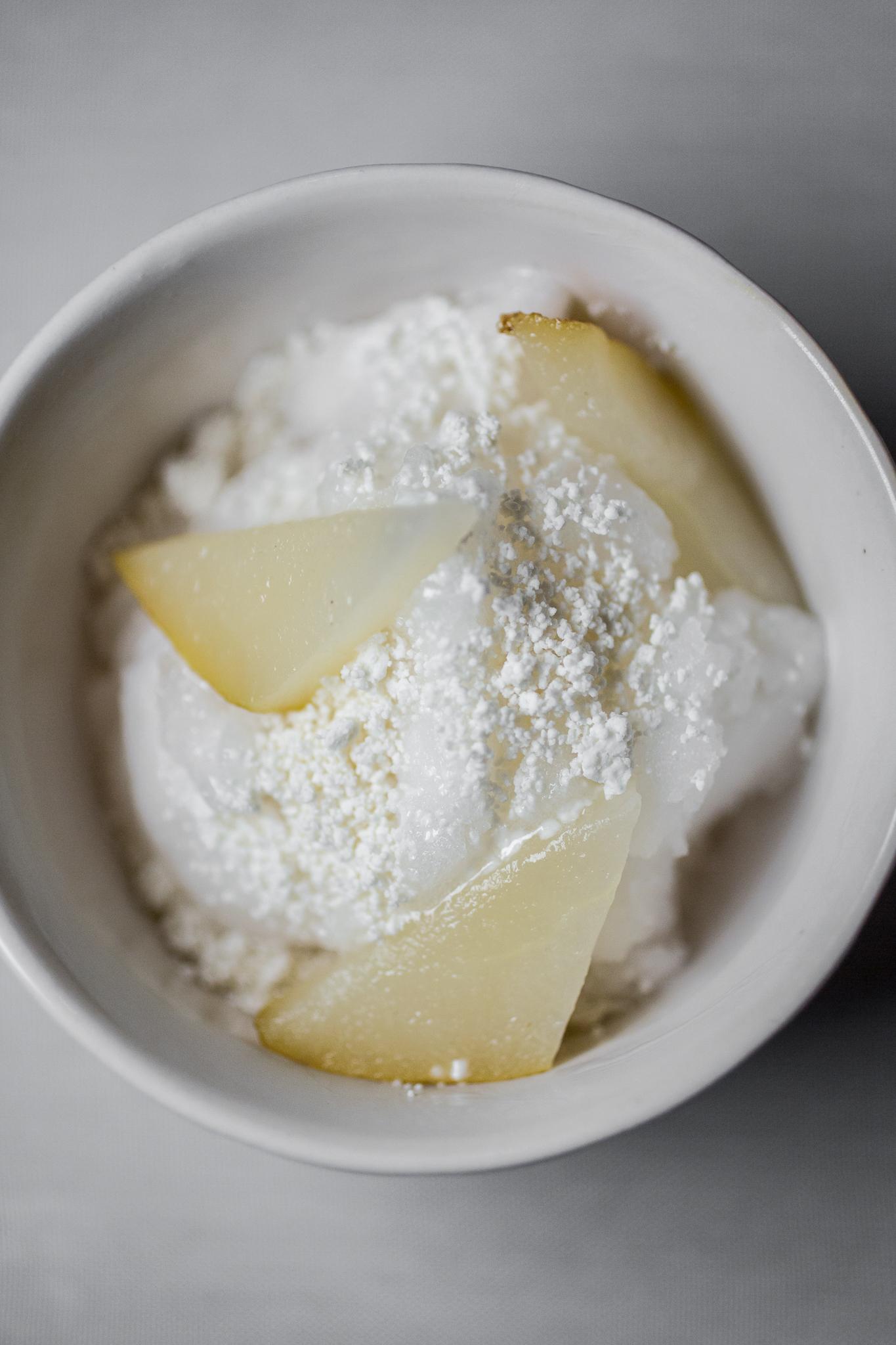 Limonada Sorbet, Poached Pear, Lavender