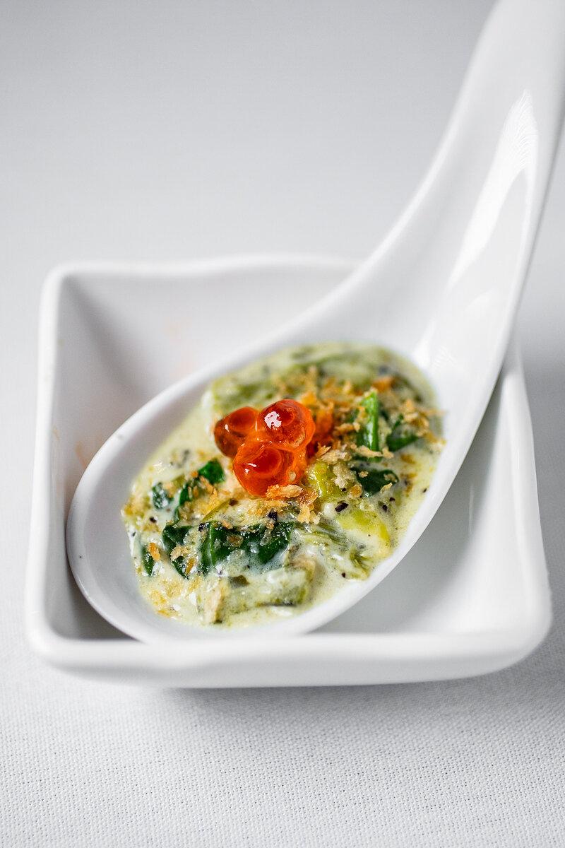 Rajas con Crema, Spinach, Salmon Roe