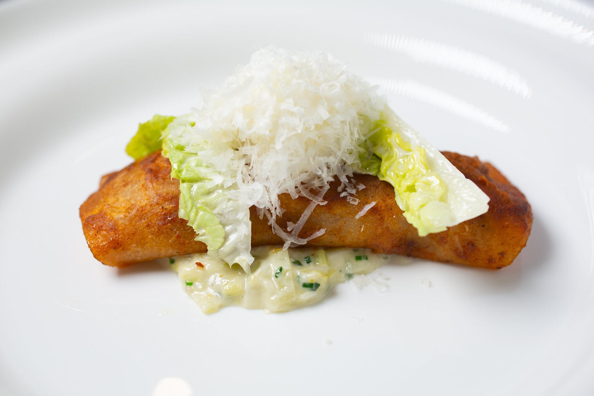Dungeness Crab Enchilada, Mascapone, Little Gem Lettuce, Leek Cremeux