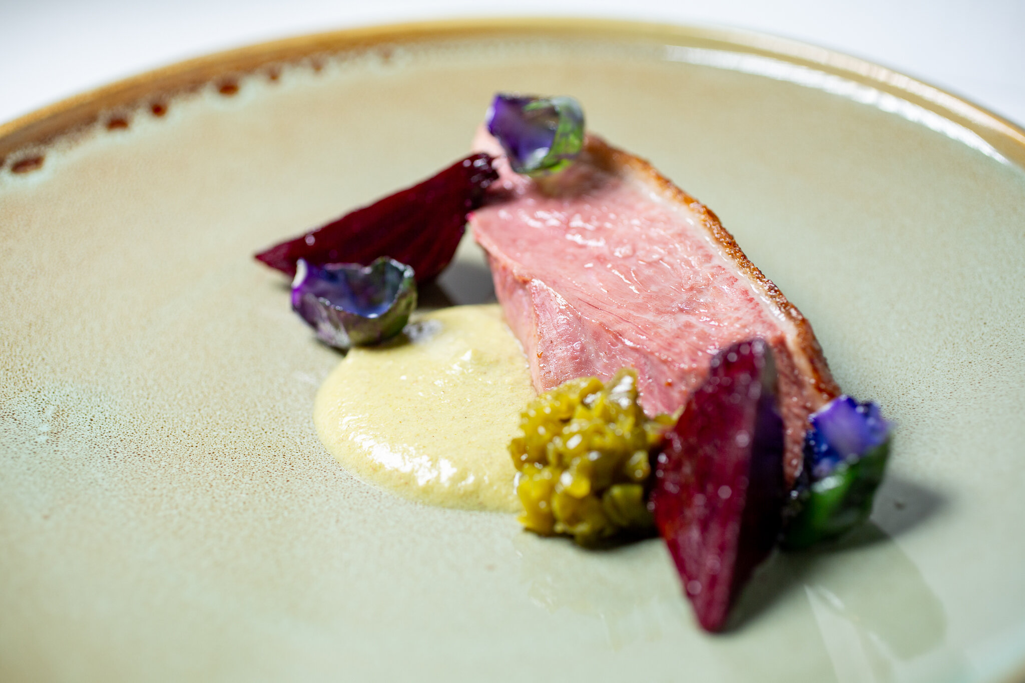 Agave-Glazed Duck, Pistachio Mole, Roasted Beets, Nopales Marmalade