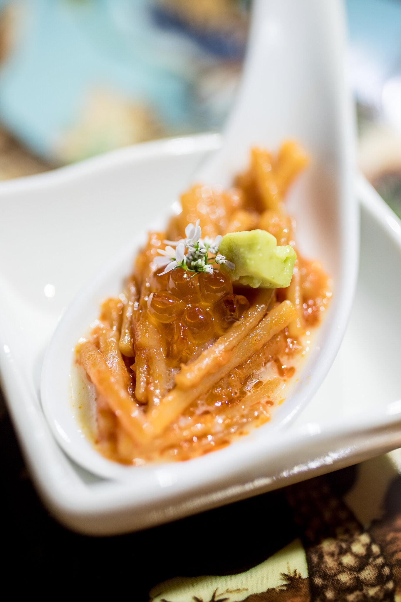 Fideo Seco, Avocado, Crème Fraîche, Salmon Roe