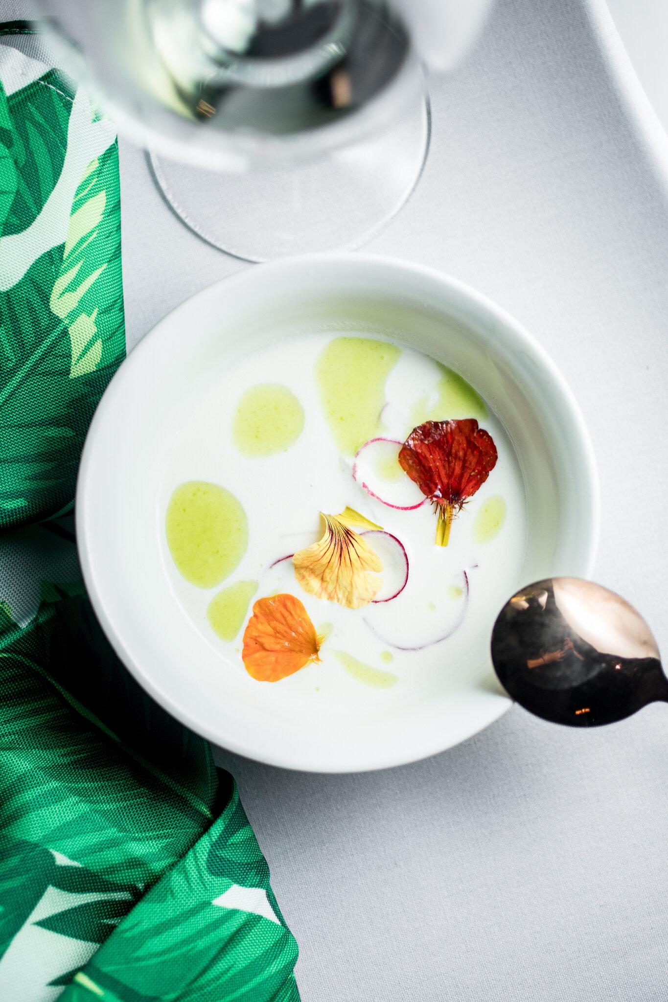 Ajo Blanco Soup, Dungeness Crab, Red Radish, Nasturtium