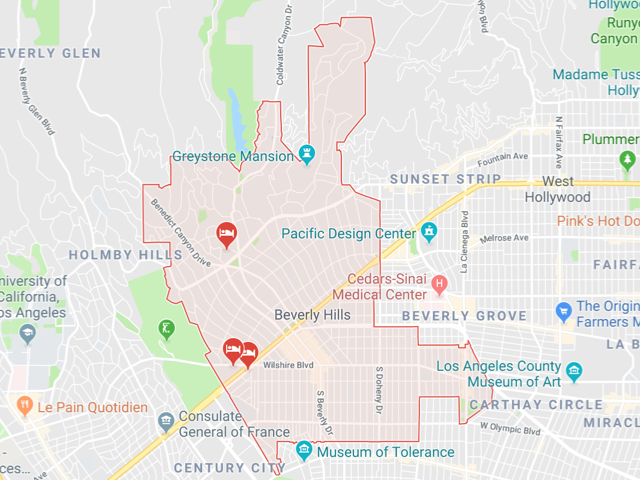 Beverly Hills  Superficie: 14.79 km2 Démographie: 34,687 habitants Prix moyen par Sq.Ft (1m2 = 10.76 Sq.Ft): -Maison Single Family: Q1 2018: $1,700 (Q1 2017: $1,362) -Condo: Q1 2018: $745 (Q1 2017: $713)