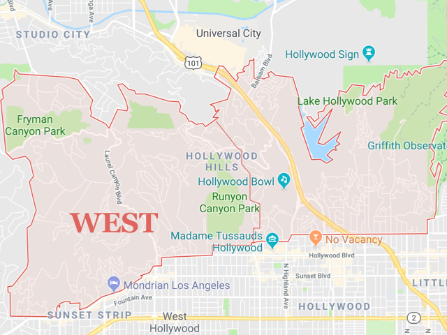 Hollywood Hills WEST  Superficie: 12.61 km2 Démographie: +16,000 habitants Prix moyen par Sq.Ft pour une maison (SFR) | Prix moyen par Sq.Ft pour un appartement (Condo) 1 M2 = 10.76 Sq.Ft