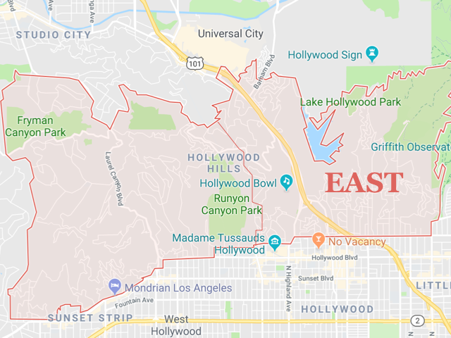 Hollywood Hills EAST  Superficie: 18.26 km2 Démographie: environ 23,000 habitants Prix moyen par Sq.Ft (1m2 = 10.76 Sq.Ft): -Maison Single Family: Q1 2018: $609 (Q1 2017: $593)