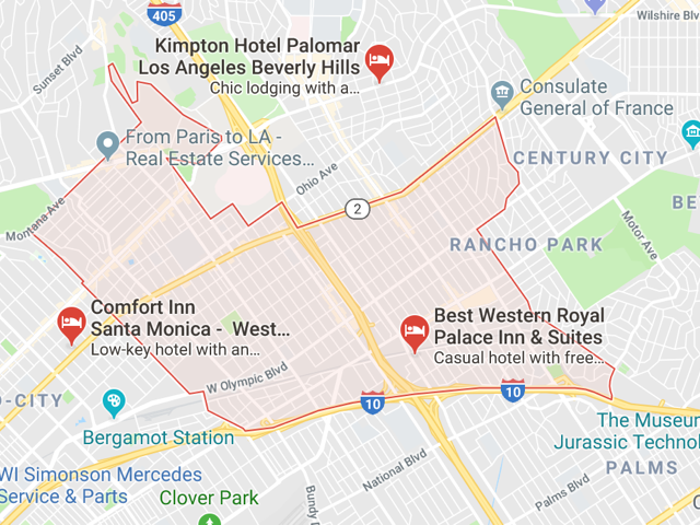 West Los Angeles  Superficie: 9.69 km2 Démographie: +52,280 habitants  Prix moyen par Sq.Ft (1m2 = 10.76 Sq.Ft): -Maison Single Family: Q1 2018: $855 (Q1 2017: $693) -Condo: Q1 2018: $610 (Q1 2017: $590)