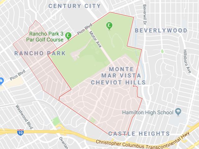 Cheviot Hills & Rancho Park  Superficie: 3.98 km2 (Cheviot Hills) 1.55 km2 (Rancho) Démographie: +7,303 (Cheviot Hills) +4,556 (Rancho) Prix moyen par Sq.Ft (1m2 = 10.76 Sq.Ft): -Maison Single Family: Q1 2018: $905 (Q1 2017: $801)