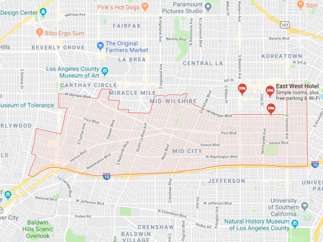 Mid City / Mid Los Angeles  Superficie: 8.98 km2 Démographie: +55,000 habitants Prix moyen par Sq.Ft (1m2 = 10.76 Sq.Ft): -Maison Single Family: Q1 2018: $475 (Q1 2017: $427)
