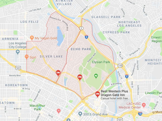 Silver Lake & Echo Park  Superficie: 7.12 km2 (Silver Lake) 6.21 km2 (Echo Pk) Démographie: +32,890 (Silver Lake) +43,832 (Echo Pk) Prix moyen par Sq.Ft pour une maison (SFR) | Prix moyen par Sq.Ft pour un appartement (Condo) 1 M2 = 10.76 Sq.Ft