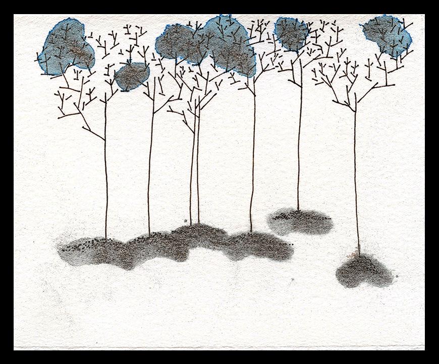 "Winter Birch, 4.5 x 5.5"", SOLD"