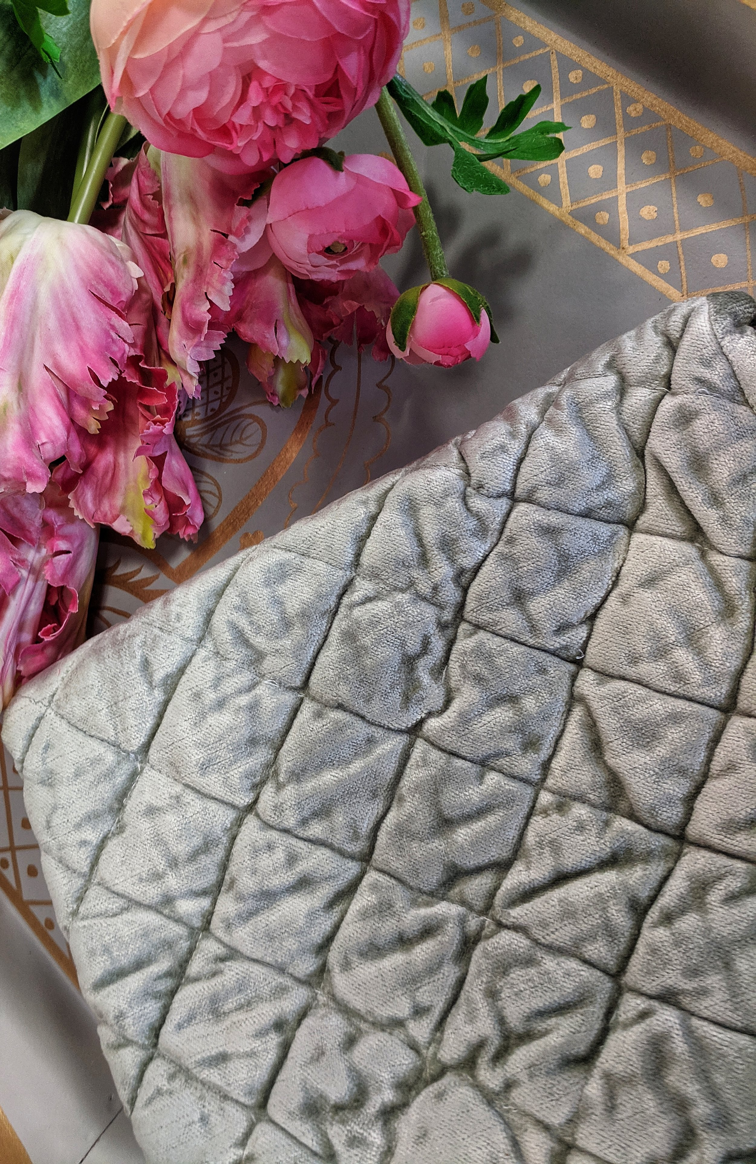 Estrella, Platinum - Standard - Soft velvet fabric hand quilted ina diamond pattern, with large 10 ruffles all the way around. Luxurious and heavy quilt for those cold winters, or a great layer for other seasons.Sham - $95.00Quilt - $535.00