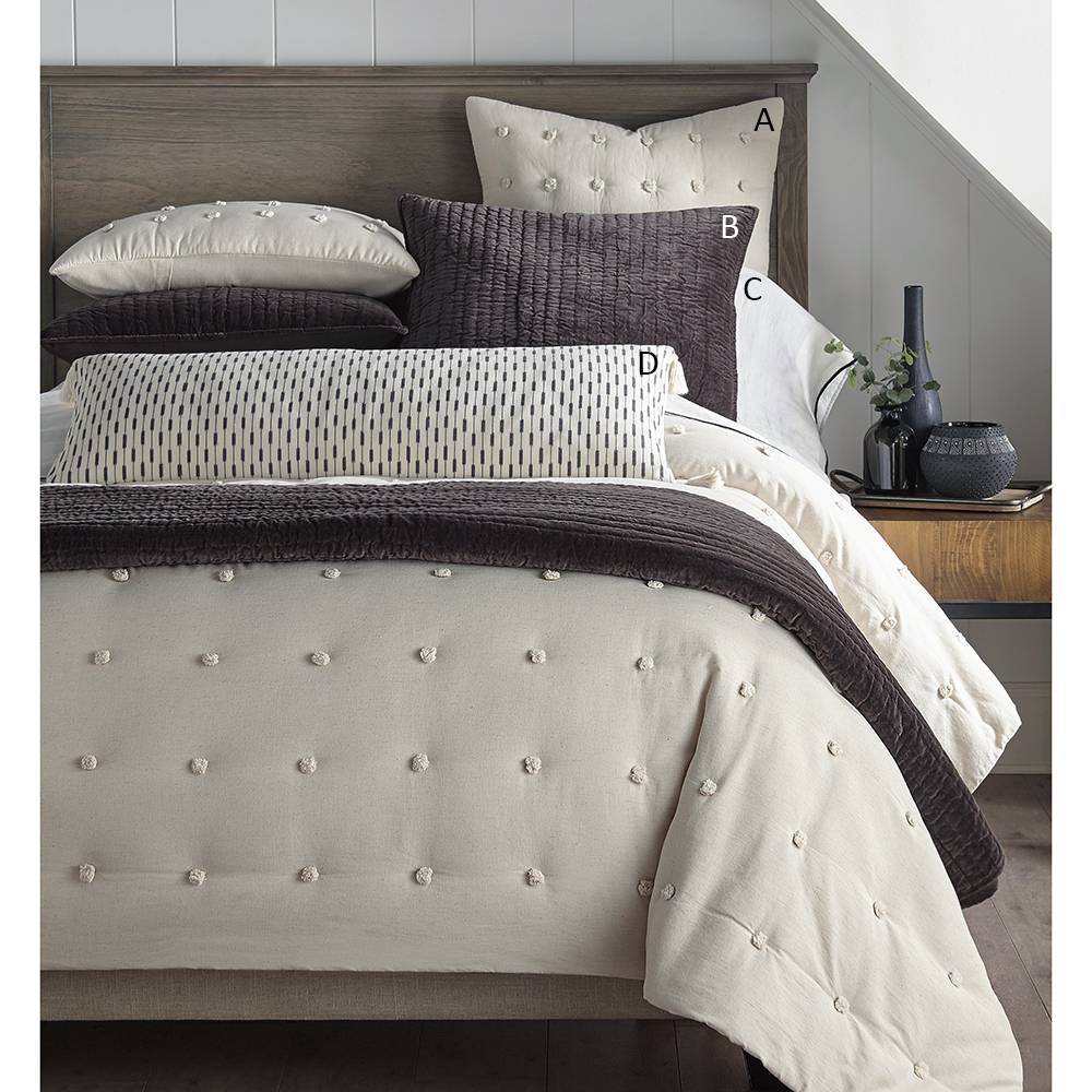 Astrid Quilt - The Astrid Quilt is an ultra soft Cotton, with Linen texturing and decorative pom poms for a playful look. Available in Naturalqueen - $285.00King - $345.00