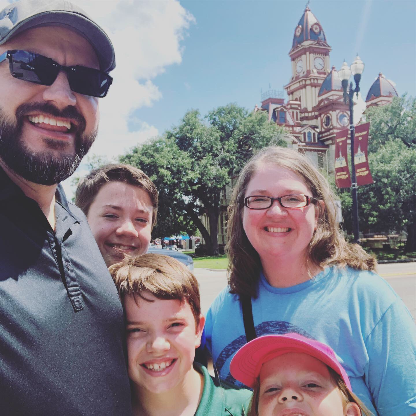 The Wiggains Family, sweating, in Lockhart, Texas