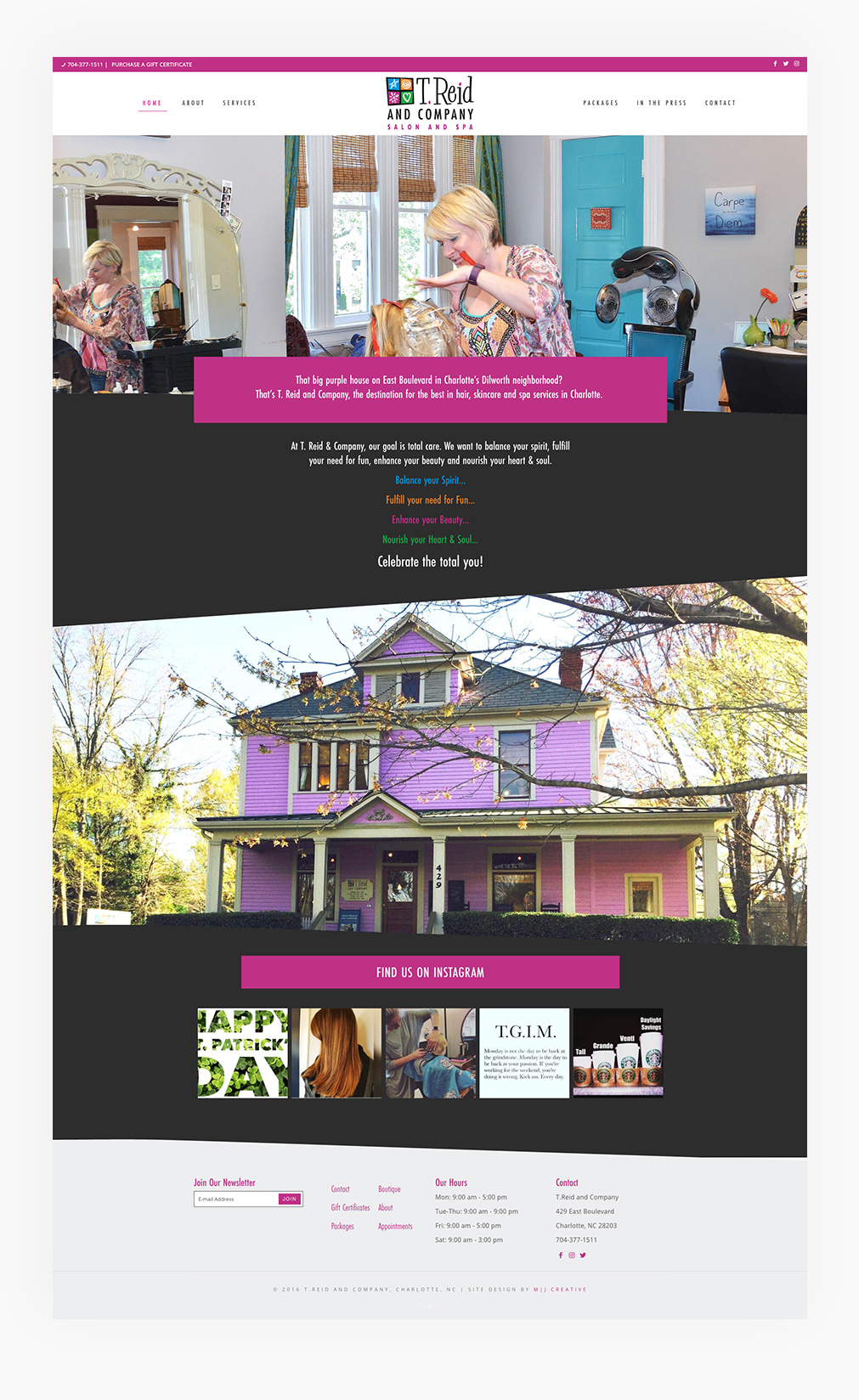 T Reid Salon Spa Michelle Jones Creative Charlotte Nc Website Web Design
