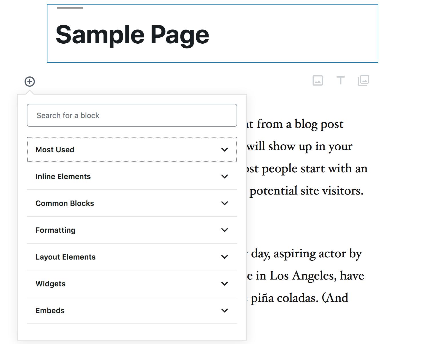 Wordpress Block Types
