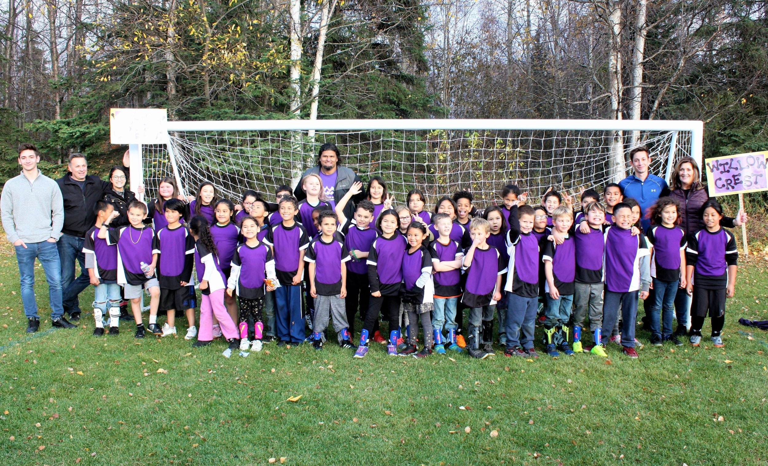Willowcrest Wolverine Soccer Team (Grades K-4th) and coaches excited after competing in the 2018 Fall Soccer Jamboree.