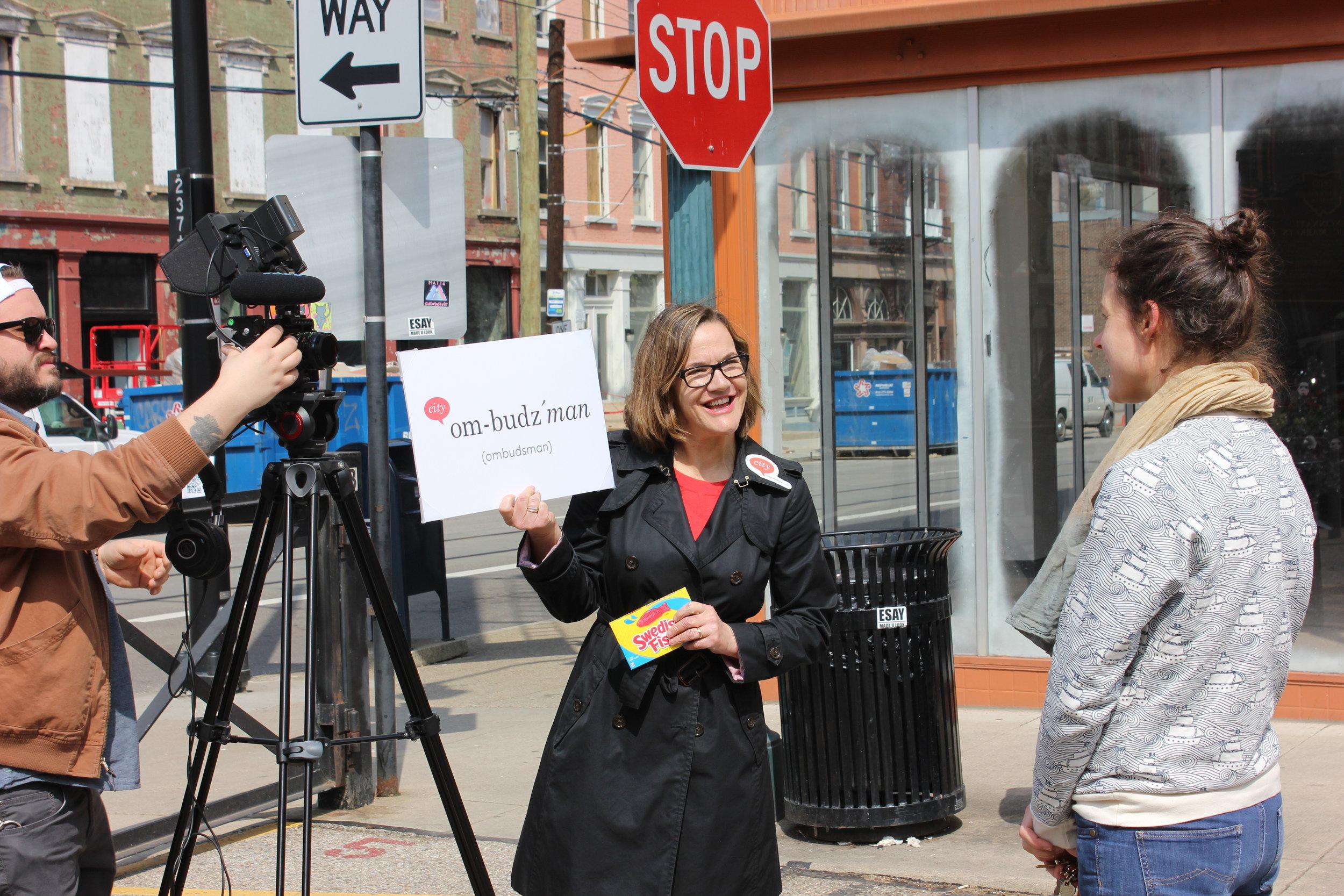 "Chris Ashwell, Cincy Stories films while Tina Dyehouse, City Ombudsman, interviews Susannah Tisue."" Photo: Marcus Donaldson"