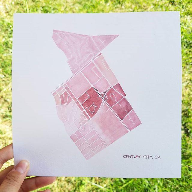 Century City, Los Angeles  A district developed on the former backlot of film studio 20th Century Fox. 🎬  #mapstagram #losangeles #california #centurycity #watercolor #mapsofinstagram