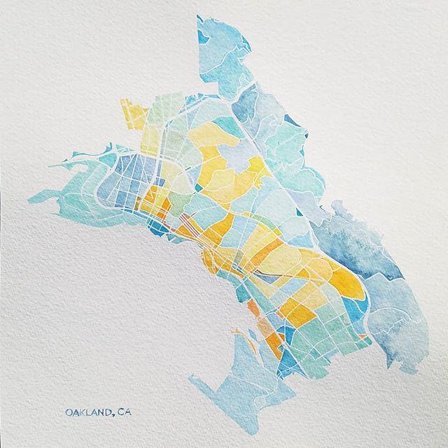 Oakland, CA  Motto: Love life  #watercolor #mapstagram #oaklandcalifornia #oaklandca #love