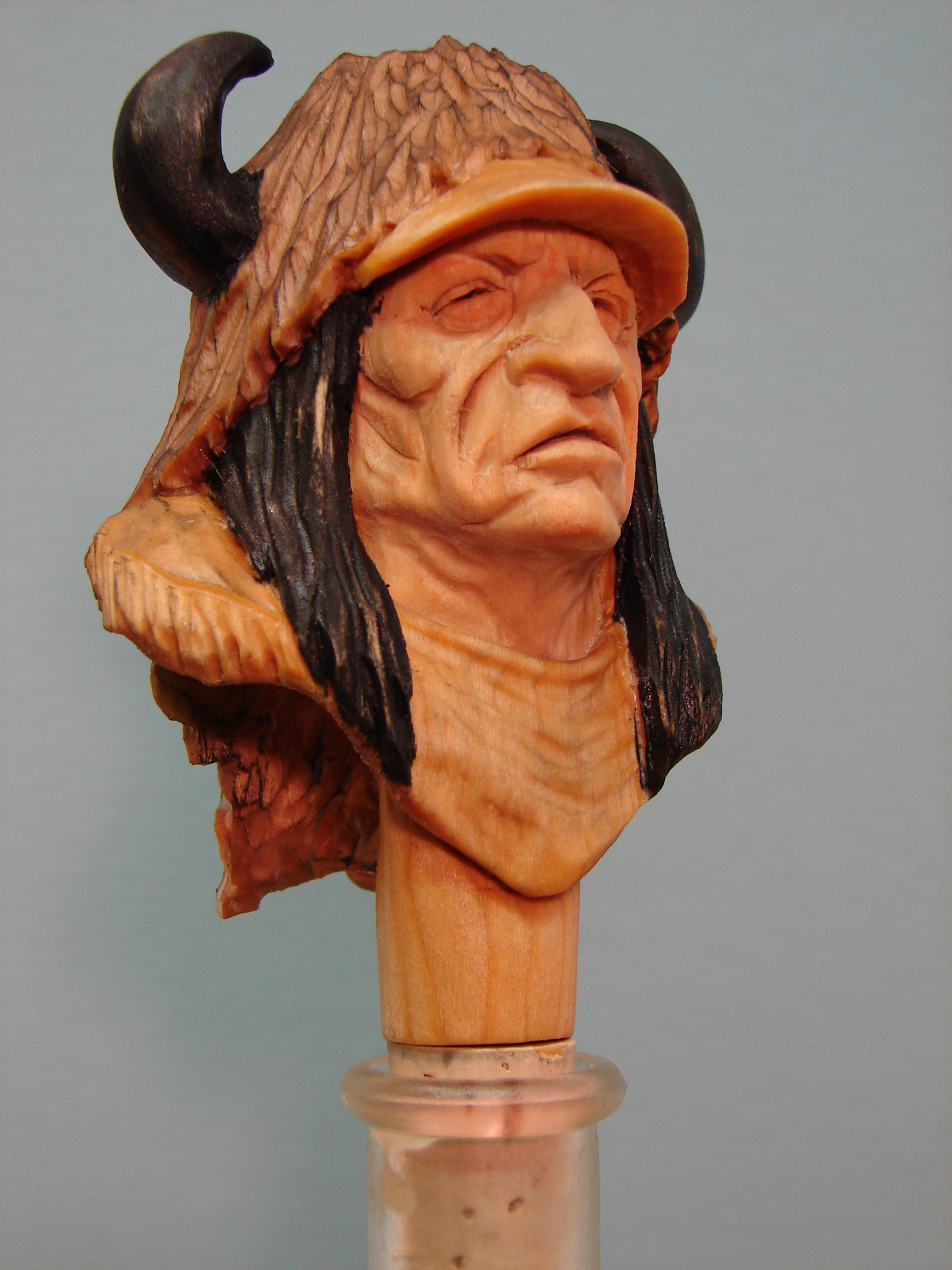 Buffalo head dress Indian bottle stopper kit (basswood) $20.00 each -