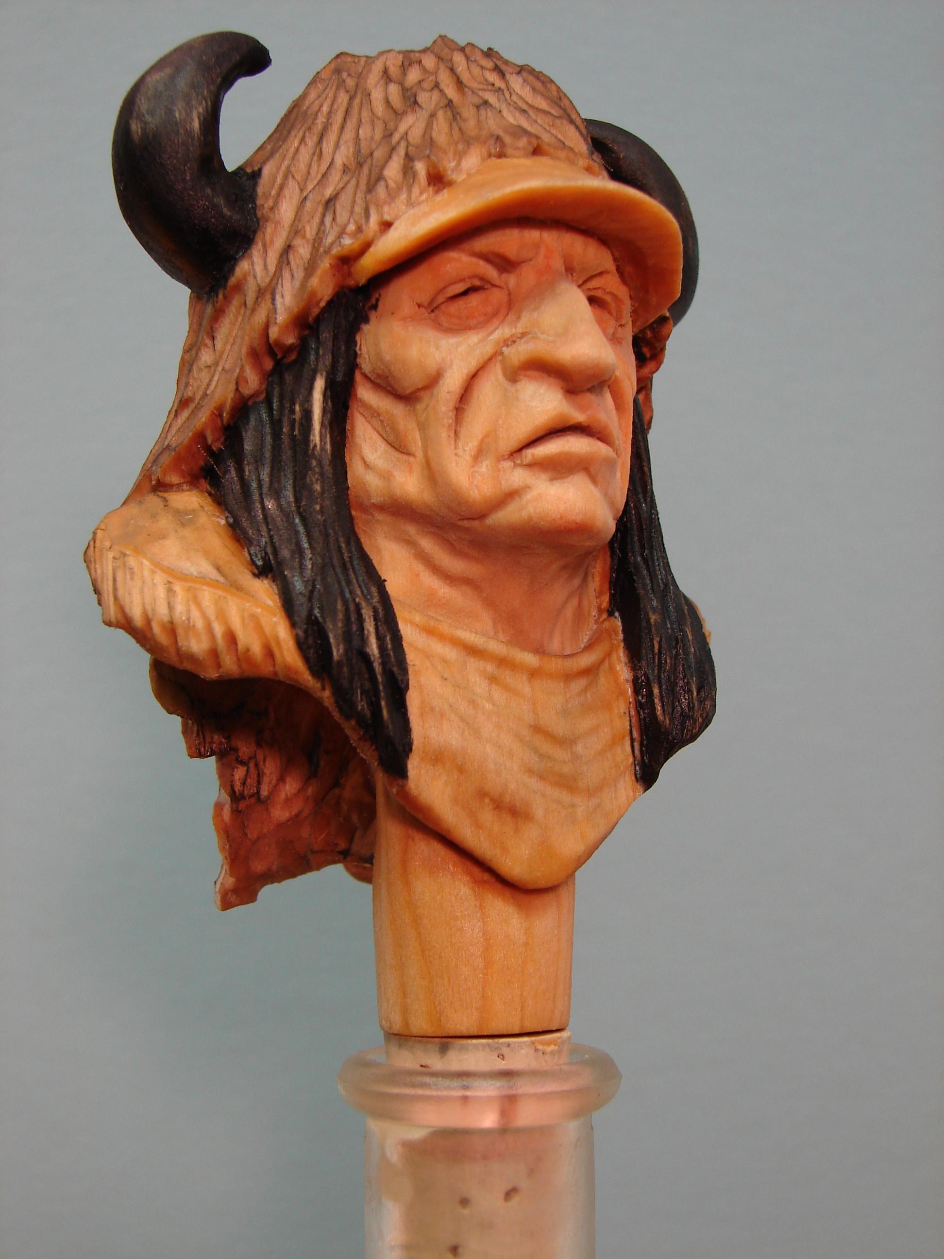 Buffalo head dress Indian bottle stopper kit (basswood) $20.00 each -