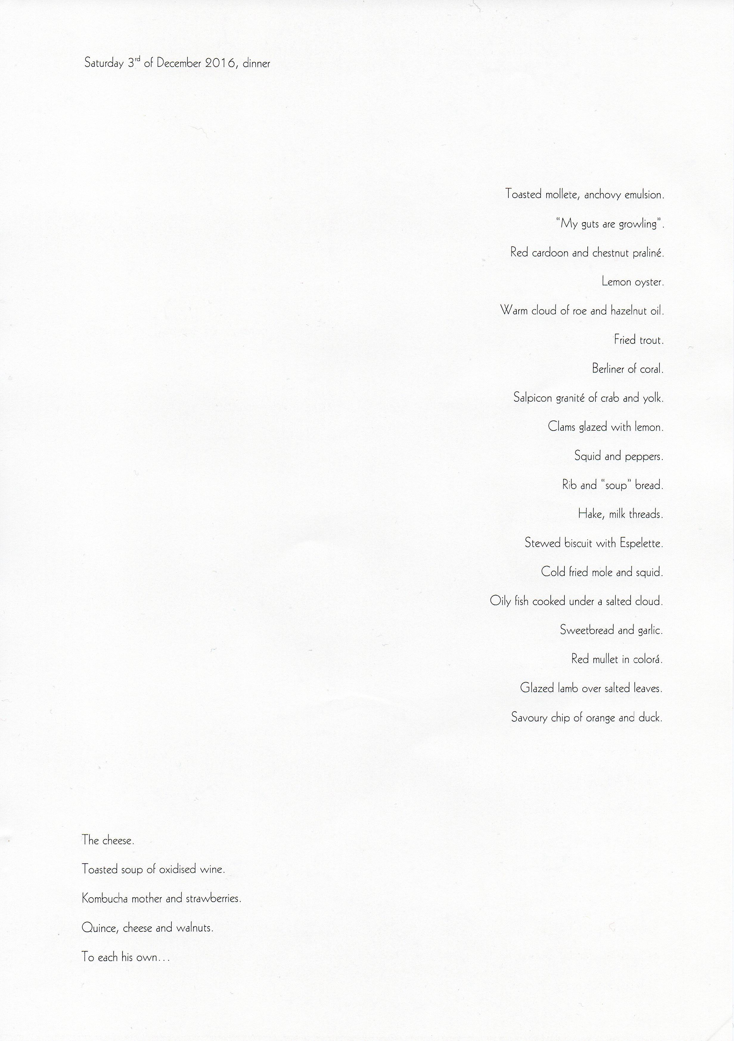 Adult menu