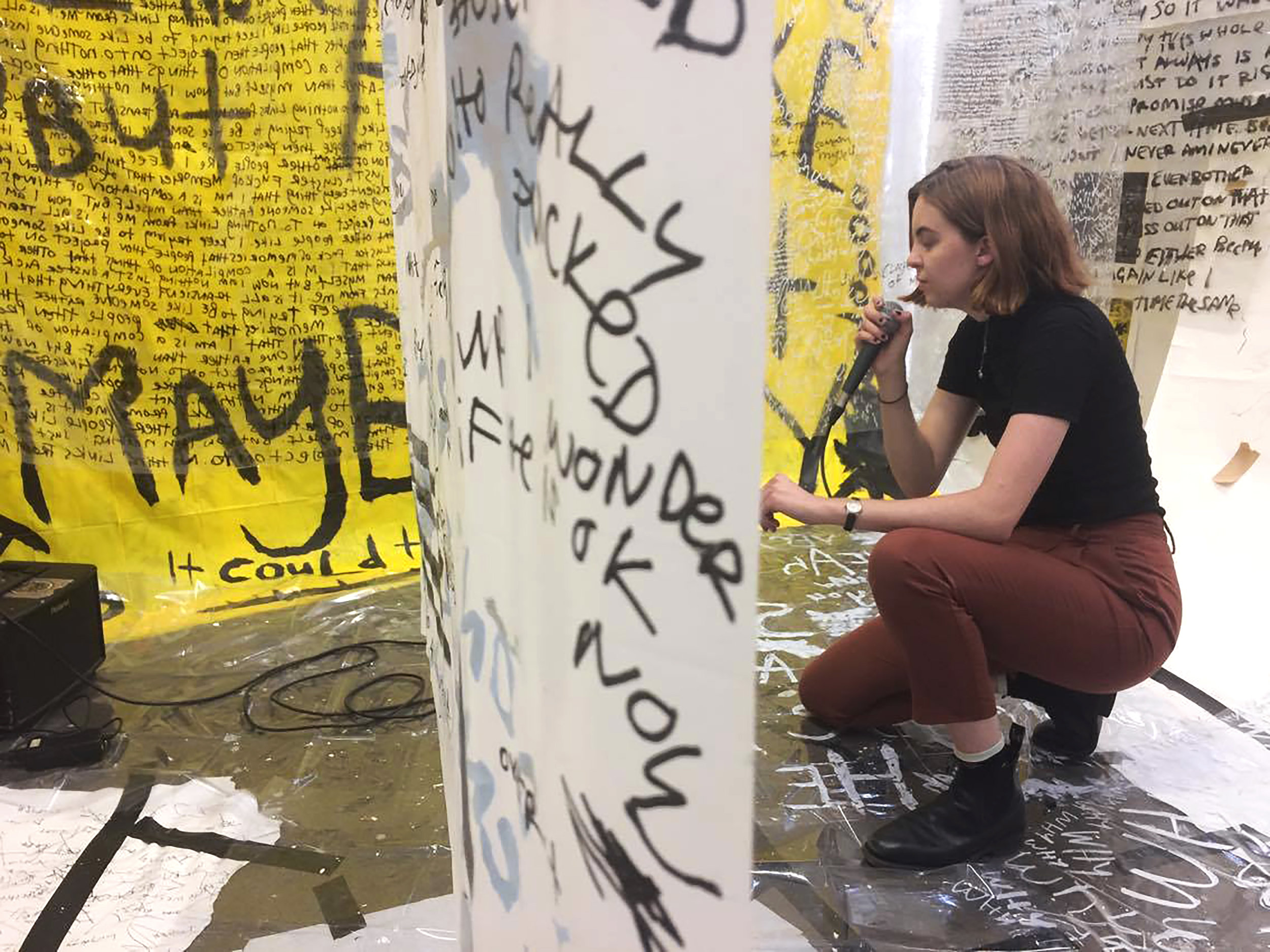 (opening performance artist 1) , Jennifer Brady, Word Games, live performance and drawing installation, dimensions variable, NFS