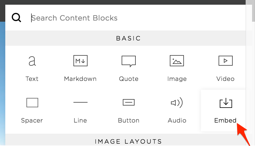 "Choose ""Embed"" Block"
