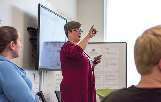 Making Connections: Sara Schley, director of NTID's Research Center for Teaching and Learning, is using a National Science Foundation grant to connect faculty and student mentors with the goal of improving pedagogy.