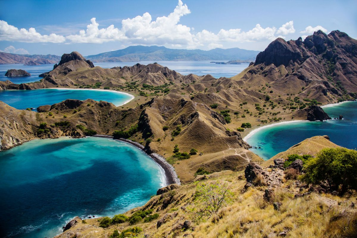 Padar Island, the third largest island in the Komodo National Park - Hiking up and down Padar Island takes between 1 to 2 hours, (depending on how many photos you've snapped on the way) to finally reach the summit with an out-of-the-world panoramic view. Prepare yourself to be blown away by the 3 coloured beaches (pink, white, black).